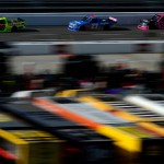 MARTINSVILLE, VA - OCTOBER 31:  Matt Crafton, driver of the #88 Fisher Nuts/Menards Toyota, leads a pack of trucks during the NASCAR Camping World Truck Series Kroger 200 at Martinsville Speedway on October 31, 2015 in Martinsville, Virginia.  (Photo by Robert Laberge/Getty Images)