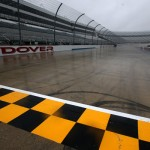 DOVER, DE - OCTOBER 02:  A view of the start/finish line on the track in the rain before practice for the NASCAR Sprint Cup Series AAA 400 at Dover International Speedway on October 2, 2015 in Dover, Delaware.  (Photo by Sean Gardner/NASCAR via Getty Images)