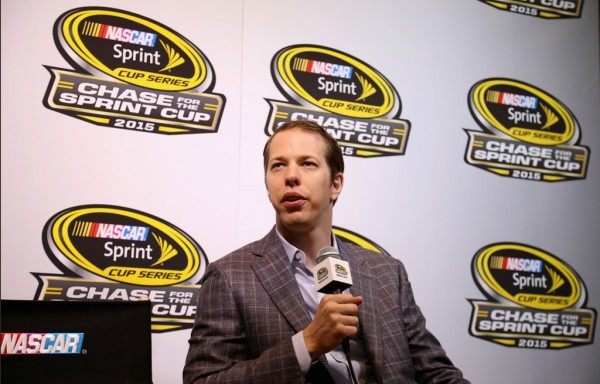 Brad Keselowski meets with the media during The Chase for the NASCAR Sprint Cup Eliminator Round Media Day at NASCAR Hall of Fame on October 27, 2015 in Charlotte, North Carolina.