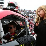 MARTINSVILLE, VA - NOVEMBER 01:  Jeff Gordon, driver of the #24 AARP Member Advantages Chevrolet, talks to his daughter Ella during pre-race ceremonies for during the NASCAR Sprint Cup Series Goody's Headache Relief Shot 500 at Martinsville Speedway on November 1, 2015 in Martinsville, Virginia.  (Photo by Sarah Crabill/Getty Images)