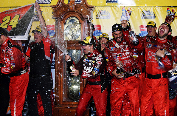 Jeff Gordon celebrates his win after the NASCAR Sprint Cup Series Goody's Headache Relief Shot 500 at Martinsville Speedway on November 1, 2015 in Martinsville, Virginia.
