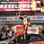 FORT WORTH, TX - NOVEMBER 07:  Brad Keselowski, driver of the #22 Discount Tire Ford, celebrates in victory lane after winning the NASCAR XFINITY Series O'Reilly Auto Parts Challenge at Texas Motor Speedway on November 7, 2015 in Fort Worth, Texas.  (Photo by Chris Graythen/Getty Images for Texas Motor Speedway)