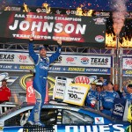 FORT WORTH, TX - NOVEMBER 08:  Jimmie Johnson, driver of the #48 Lowe's Chevrolet, celebrates in victory lane after winning the NASCAR Sprint Cup Series AAA Texas 500 at Texas Motor Speedway on November 8, 2015 in Fort Worth, Texas.  (Photo by Sarah Crabill/Getty Images for Texas Motor Speedway)