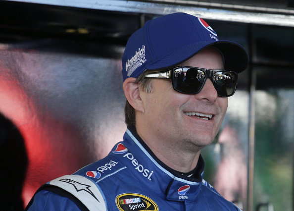 Jeff Gordon in the garage during practice for the NASCAR Sprint Cup Series Quicken Loans Race for Heroes 500 at Phoenix International Raceway on November 14, 2015 in Avondale, Arizona.