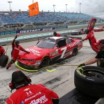 HOMESTEAD, FL - NOVEMBER 21:  Regan Smith, driver of the #7 TaxSlayer.com Chevrolet, pits during the NASCAR XFINITY Series Ford EcoBoost 300 at Homestead-Miami Speedway on November 21, 2015 in Homestead, Florida.  (Photo by Sarah Crabill/Getty Images)