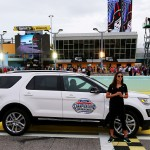 HOMESTEAD, FL - NOVEMBER 21:  Professional soccer player and grand marshall Carli Lloyd delivers the starting command during pre-race ceremonies for the NASCAR XFINITY Series Ford EcoBoost 300 at Homestead-Miami Speedway on November 21, 2015 in Homestead, Florida.  (Photo by Sarah Crabill/Getty Images)