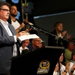 HOMESTEAD, FL - NOVEMBER 22:  Mike Helton, Vice Chairman of NASCAR, speaks during the driver's meeting for the NASCAR Sprint Cup Series Ford EcoBoost 400 at Homestead-Miami Speedway on November 22, 2015 in Homestead, Florida.  (Photo by Mike Ehrmann/Getty Images)