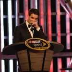 LAS VEGAS, NV - DECEMBER 04:  NASCAR Sprint Cup Series driver Jeff Gordon reacts onstage during the 2015 NASCAR Sprint Cup Series Awards Show at Wynn Las Vegas on December 4, 2015 in Las Vegas, Nevada.  (Photo by Ethan Miller/Getty Images)