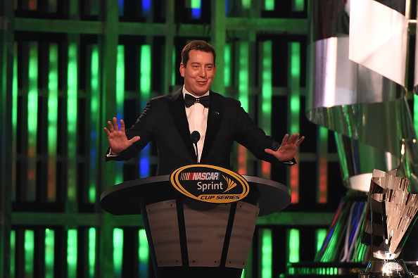Kyle Busch speaks during the 2015 NASCAR Sprint Cup Series Awards Show at Wynn Las Vegas on December 4, 2015 in Las Vegas, Nevada.