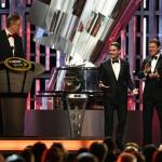 LAS VEGAS, NV - DECEMBER 04:  (L-R) NASCAR CEO and Chairman Brian France speaks after NASCAR Sprint Cup Series driver Jeff Gordon was introduced by actor Tom Cruise during the 2015 NASCAR Sprint Cup Series Awards show at Wynn Las Vegas on December 4, 2015 in Las Vegas, Nevada.  (Photo by Ethan Miller/Getty Images)