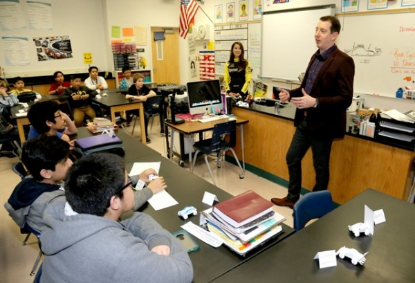 NASCAR Sprint Cup Series champion Kyle Busch speaks at Lawrence Junior High School during NASCAR Champion's Week on December 1, 2015 in Las Vegas, Nevada.