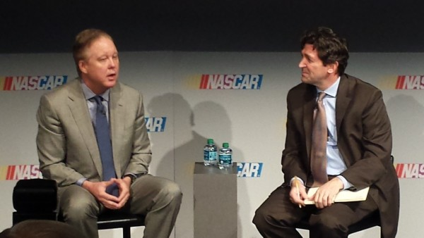 Brian France met with the media Tuesday in Charlotte. (Greg Engle)
