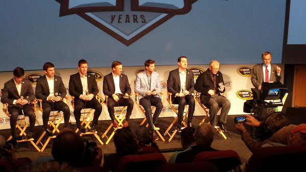 The Joe Gibbs Racing team meets with the media Tuesday in Charlotte (Greg Engle)