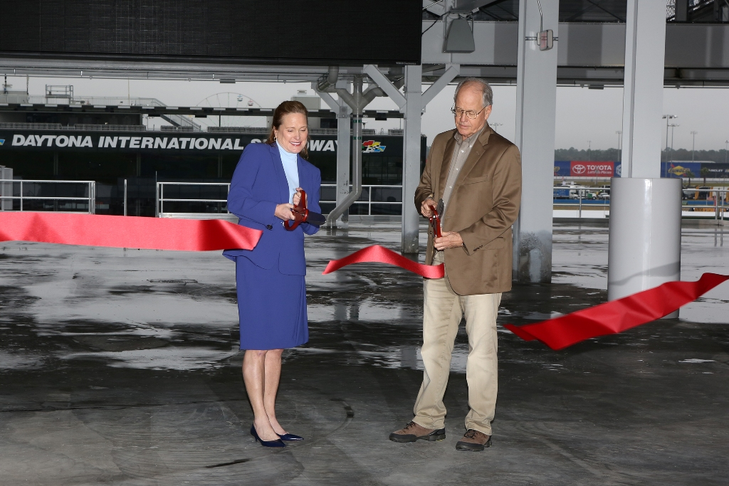 International Speedway Corporation Chairman Jim France and Chief Executive Officer Lesa France Kennedy cut the ribbon officially opening DAYTONA Rising Tuesday January 27, 2016.