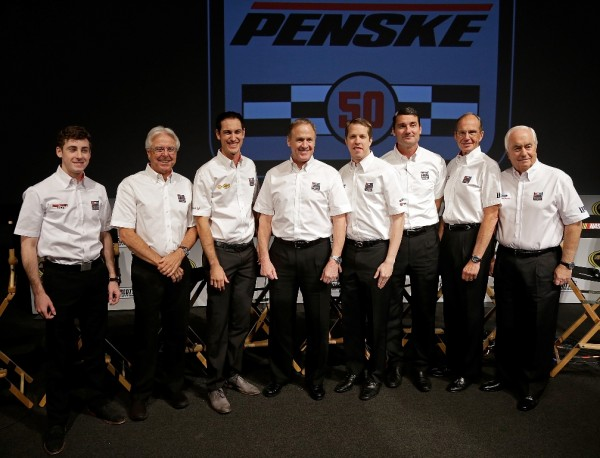 Team Penske poses for a photo during the second day of the NASCAR 2016 Charlotte Motor Speedway Media Tour on January 20, 2016 in Charlotte, North Carolina.