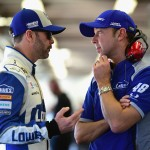 DAYTONA BEACH, FL - FEBRUARY 12:  Jimmie Johnson, driver of the #48 Lowe's Chevrolet, talks with crew chief Chad Knaus in the garage area during practice for the NASCAR Sprint Cup Series Sprint Unlimited at Daytona International Speedway on February 12, 2016 in Daytona Beach, Florida.  (Photo by Jared C. Tilton/Getty Images)