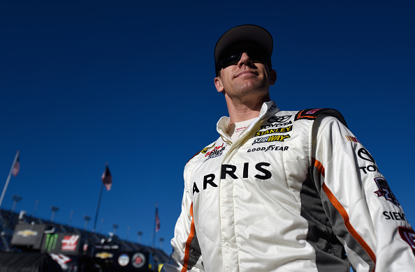 DAYTONA BEACH, FL - FEBRUARY 12:  Carl Edwards, driver of the #19 ARRIS Toyota, looks on in the garage area during practice for the NASCAR Sprint Cup Series Sprint Unlimited at Daytona International Speedway on February 12, 2016 in Daytona Beach, Florida.  (Photo by Jared C. Tilton/Getty Images)