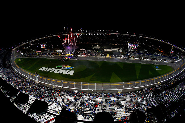 DAYTONA BEACH, FL - FEBRUARY 13:  A general view of the speedway while drivers are introduced prior the NASCAR Sprint Cup Series Sprint Unlimited at Daytona International Speedway on February 13, 2016 in Daytona Beach, Florida.  (Photo by Jeff Zelevansky/Getty Images)