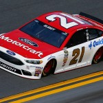 DAYTONA BEACH, FL - FEBRUARY 14:  Ryan Blaney, driver of the #21 Motorcraft/Quick Lane Tire & Auto Center Ford, drives during qualifying for the NASCAR Sprint Cup Series Daytona 500 at Daytona International Speedway on February 14, 2016 in Daytona Beach, Florida.  (Photo by Jeff Zelevansky/Getty Images)