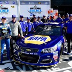 DAYTONA BEACH, FL - FEBRUARY 14:  Chase Elliott, driver of the #24 NAPA Auto Parts Chevrolet, and his crew members pose in Victory Lane after winning the pole award during qualifying for the NASCAR Sprint Cup Series Daytona 500 at Daytona International Speedway on February 14, 2016 in Daytona Beach, Florida.  (Photo by Jared C. Tilton/Getty Images)