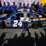 DAYTONA BEACH, FL - FEBRUARY 14:  Chase Elliott, driver of the #24 NAPA Auto Parts Chevrolet, poses with the 21 Means 21 Pole Award after qualifying for pole position in the NASCAR Sprint Cup Series Daytona 500 at Daytona International Speedway on February 14, 2016 in Daytona Beach, Florida.  (Photo by Patrick Smith/Getty Images)