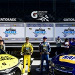 DAYTONA BEACH, FL - FEBRUARY 14:  Chase Elliott, driver of the #24 NAPA Auto Parts Chevrolet, and Matt Kenseth, driver of the #20 Dollar General Toyota, pose with the Daytona 500 Pole Award and Front Row Award after qualifying for the pole position and front row for the NASCAR Sprint Cup Series Daytona 500 at Daytona International Speedway on February 14, 2016 in Daytona Beach, Florida.  (Photo by Jared C. Tilton/Getty Images)