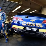 DAYTONA BEACH, FL - FEBRUARY 17: Chase Elliott, driver of the #24 NAPA Auto Parts Chevrolet, stands in the garage area during practice for the Daytona 500 at Daytona International Speedway on February 17, 2016 in Daytona Beach, Florida.  (Photo by Jared C. Tilton/Getty Images)