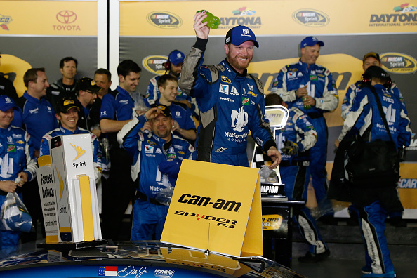 DAYTONA BEACH, FL - FEBRUARY 18: Dale Earnhardt Jr., driver of the #88 Nationwide Chevrolet, celebrates in Victory Lane after winning the NASCAR Sprint Cup Series Can-Am Duels at Daytona International Speedway on February 18, 2016 in Daytona Beach, Florida.  (Photo by Brian Lawdermilk/Getty Images)