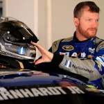 DAYTONA BEACH, FL - FEBRUARY 19:  Dale Earnhardt Jr., driver of the #88 Nationwide Chevrolet, stands in the garage area during practice for the NASCAR Sprint Cup Series Daytona 500 at Daytona International Speedway on February 19, 2016 in Daytona Beach, Florida.  (Photo by Mike Ehrmann/Getty Images)