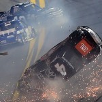 DAYTONA BEACH, FL - FEBRUARY 19:  Christopher Bell, driver of the #4 JBL Toyota, Timmy Hill, driver of the #49 Hormone Therapeutics Chevrolet, and John H Nemechek, driver of the #8 farbe technik Chevrolet, have an on track incident during the NASCAR Camping World Truck Series NextEra Energy Resources 250 at Daytona International Speedway on February 19, 2016 in Daytona Beach, Florida.  (Photo by Jared C. Tilton/Getty Images)