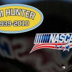 HAMPTON, GA - FEBRUARY 27: A detailed view of a memorial sticker for Jim Hunter on a tool box in the garage area during practice for the NASCAR Sprint Cup Series Folds of Honor QuikTrip 500 at Atlanta Motor Speedway on February 27, 2016 in Hampton, Georgia.  (Photo by Brian Lawdermilk/Getty Images)