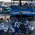 HAMPTON, GA - FEBRUARY 28: Jimmie Johnson, driver of the #48 Lowe's Chevrolet, pits during the NASCAR Sprint Cup Series Folds of Honor QuikTrip 500 at Atlanta Motor Speedway on February 28, 2016 in Hampton, Georgia.  (Photo by Jeff Zelevansky/Getty Images)
