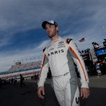LAS VEGAS, NV - MARCH 04: Daniel Suarez, driver of the #19 ARRIS Toyota, walks through the pit area during practice for the NASCAR Xfinity Series Boyd Gaming 300 at Las Vegas Motor Speedway on March 4, 2016 in Las Vegas, Nevada.  (Photo by Robert Laberge/Getty Images)