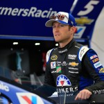 LAS VEGAS, NV - MARCH 05:  Kasey Kahne, driver of the #5 Farmers Insurance Chevrolet, stands in the garage area during practice for the NASCAR Sprint Cup Series Kobalt 400 at Las Vegas Motor Speedway on March 5, 2016 in Las Vegas, Nevada.  (Photo by Chris Trotman/Getty Images)