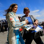 LAS VEGAS, NV - MARCH 05:  Danica Patrick, driver of the #10 Nature's Bakery Chevrolet, signs autographs during practice for the NASCAR Sprint Cup Series Kobalt 400 at Las Vegas Motor Speedway on March 5, 2016 in Las Vegas, Nevada.  (Photo by Chris Trotman/Getty Images)