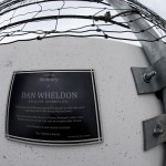 LAS VEGAS, NV - MARCH 05:  A memorial plaque is seen outisde of turn two for Dan Wheldon during the NASCAR Xfinity Series Boyd Gaming 300 at Las Vegas Motor Speedway on March 5, 2016 in Las Vegas, Nevada.  Wheldon lost his life after crashing into the fence during a race on October 16, 2011.  (Photo by Todd Warshaw/Getty Images)