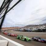 LAS VEGAS, NV - MARCH 05:  Kyle Busch, driver of the #18 NOS Energy Drink Toyota, leads the field during the NASCAR Xfinity Series Boyd Gaming 300 at Las Vegas Motor Speedway on March 5, 2016 in Las Vegas, Nevada.  (Photo by Chris Trotman/Getty Images)