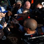 AVONDALE, AZ - MARCH 12: Jimmie Johnson, driver of the #48 Lowe's Pro Services Chevrolet, is interviewed during practice for the NASCAR Sprint Cup Series Good Sam 500 at Phoenix International Raceway on March 12, 2016 in Avondale, Arizona.  (Photo by Christian Petersen/Getty Images)