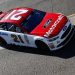 AVONDALE, AZ - MARCH 12:  Ryan Blaney, driver of the #21 Motorcraft / Quick Lane Tire  Auto Center Ford, drives through the garage area during practice for the NASCAR Sprint Cup Series Good Sam 500 at Phoenix International Raceway on March 12, 2016 in Avondale, Arizona.  (Photo by Christian Petersen/Getty Images)