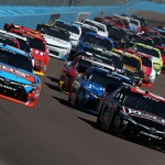 AVONDALE, AZ - MARCH 12:  Erik Jones, driver of the #20 Reser's Fine Foods Toyota, and Kyle Busch, driver of the #18 NOS Energy Drink Toyota, lead a pack of cars during the NASCAR XFINITY Series Axalta Faster. Tougher. Brighter. 200 at Phoenix International Raceway on March 12, 2016 in Avondale, Arizona.  (Photo by Sean Gardner/Getty Images)
