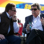 AVONDALE, AZ - MARCH 13:  Team owner Richard Childress speaks to Mike Helton, Vice Chairman for NASCAR, prior to the NASCAR Sprint Cup Series Good Sam 500 at Phoenix International Raceway on March 13, 2016 in Avondale, Arizona.  (Photo by Sean Gardner/Getty Images)