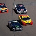 AVONDALE, AZ - MARCH 13:  Kurt Busch, driver of the #41 Monster Energy / Haas Automation Chevrolet, races Joey Logano, driver of the #22 Pennzoil Ford, Kevin Harvick, driver of the #4 Jimmy John's Chevrolet, and Martin Truex Jr, driver of the #78 Bass Pro Shops / TRACKER Boats Toyota, during the NASCAR Sprint Cup Series Good Sam 500 at Phoenix International Raceway on March 13, 2016 in Avondale, Arizona.  (Photo by Christian Petersen/Getty Images)