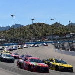 AVONDALE, AZ - MARCH 13: Kyle Busch, driver of the #18 Skittles Toyota, leads the field at the start of the NASCAR Sprint Cup Series Good Sam 500 at Phoenix International Raceway on March 13, 2016 in Avondale, Arizona.  (Photo by Jared C. Tilton/Getty Images)