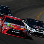 AVONDALE, AZ - MARCH 13: Kyle Busch, driver of the #18 Skittles Toyota, races Kevin Harvick, driver of the #4 Jimmy John's Chevrolet, during the NASCAR Sprint Cup Series Good Sam 500 at Phoenix International Raceway on March 13, 2016 in Avondale, Arizona.  (Photo by Chris Trotman/Getty Images)