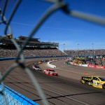 AVONDALE, AZ - MARCH 13:  Carl Edwards, driver of the #19 Stanley Toyota, leads the field during the NASCAR Sprint Cup Series Good Sam 500 at Phoenix International Raceway on March 13, 2016 in Avondale, Arizona.  (Photo by Chris Trotman/Getty Images)