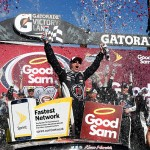 AVONDALE, AZ - MARCH 13:  Kevin Harvick, driver of the #4 Jimmy John's Chevrolet, celebrates in Victory Lane after winning the NASCAR Sprint Cup Series Good Sam 500 at Phoenix International Raceway on March 13, 2016 in Avondale, Arizona.  (Photo by Daniel Shirey/Getty Images)