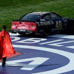 Jimmie Johnson won the superhero battle Sunday.
