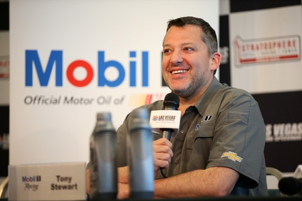 LAS VEGAS, NV - MARCH 04:  Tony Stewart talks to the media during practice for the NASCAR Sprint Cup Series Kobalt 400 at Las Vegas Motor Speedway on March 4, 2016 in Las Vegas, Nevada.  (Photo by Sean Gardner/NASCAR via Getty Images)