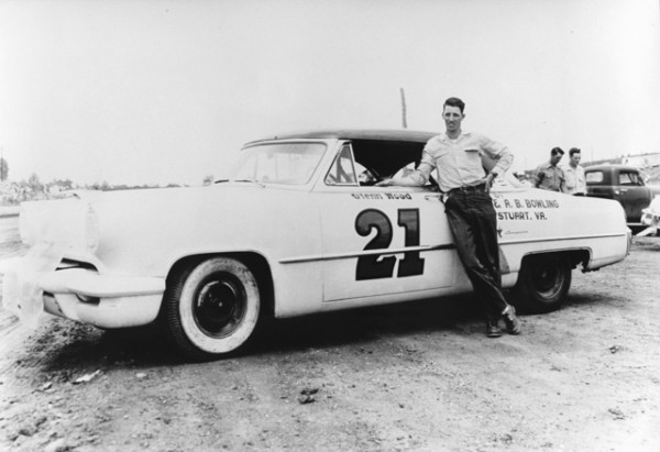 Glen Wood stands next to his first NASCAR Grand National car, a 1953 Lincoln, at Martinsville Speedway on May 17, 1953 – his first NASCAR start.  Credit: Eddie Wood / Wood Brothers.