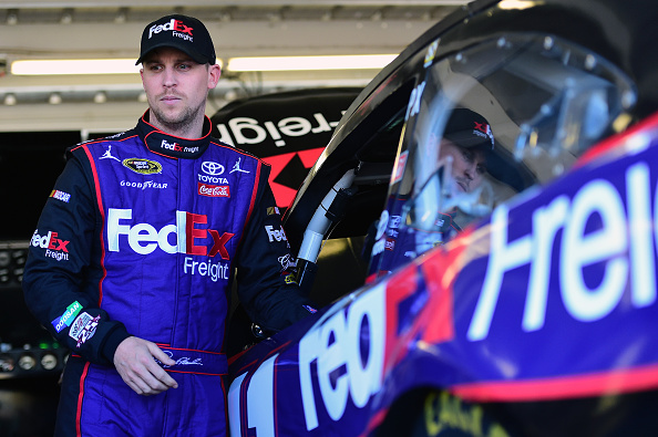 Denny Hamlin, driver of the #11 FedEx Freight Toyota.